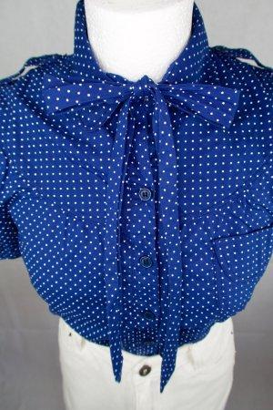 WHYRED Blusa con lazo azul-blanco Algodón