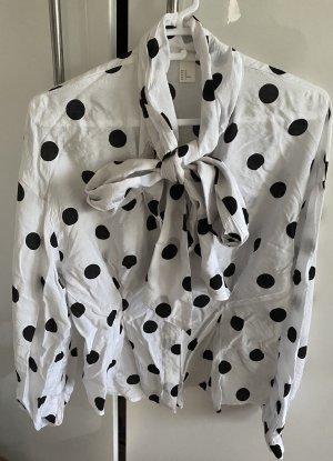 H&M Blusa con lazo blanco-negro