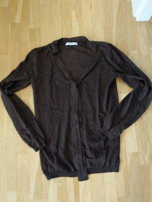 Mango Suit Bluzka z kokardą brąz-ciemnobrązowy
