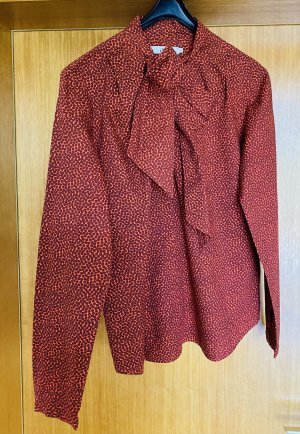 0039 Italy Blusa con lazo rojo ladrillo-negro Algodón