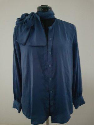 Tie-neck Blouse steel blue mixture fibre