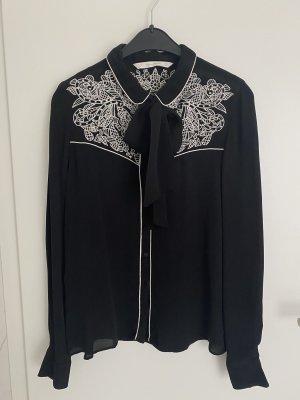 Zara Blouse avec noeuds noir-blanc
