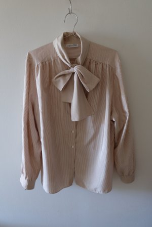 Vintage Blusa con lazo blanco-marrón claro