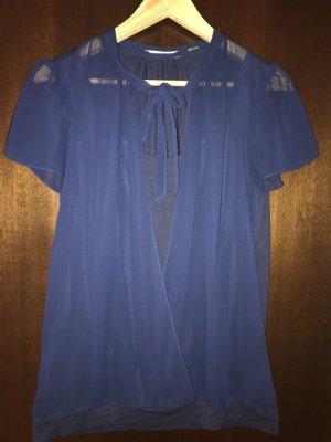 Esprit Blouse avec noeuds bleu foncé viscose