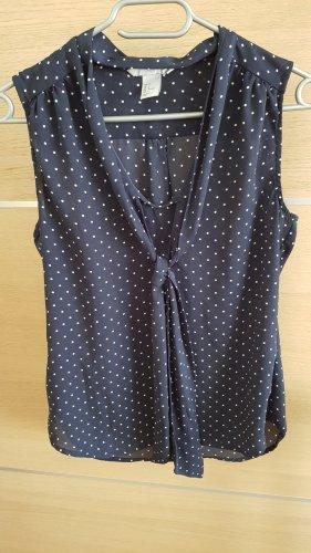 H&M Blouse avec noeuds blanc-bleu foncé