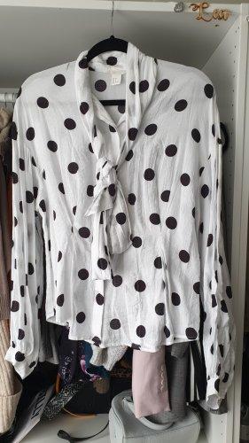 H&M Blusa collo a cravatta bianco-nero