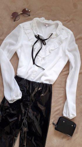Clockhouse Tie-neck Blouse white-black