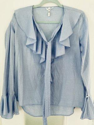 Sophie Blouse avec noeuds bleu azur-bleu clair coton