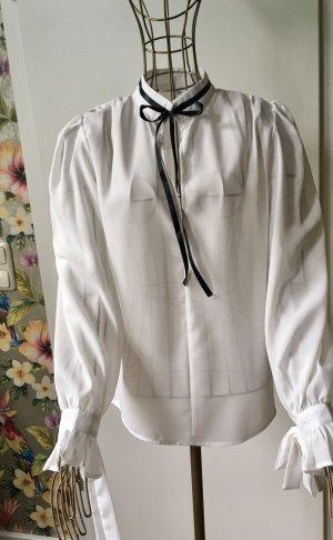 Tie-neck Blouse white-black