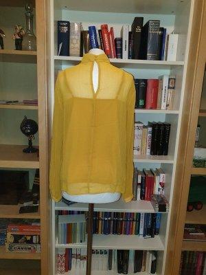 Schluppenbluse Stehkragen Bluse Pieces Gr. L (40) senfgelb Langarm
