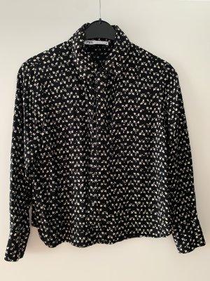 Zara Tie-neck Blouse black-white