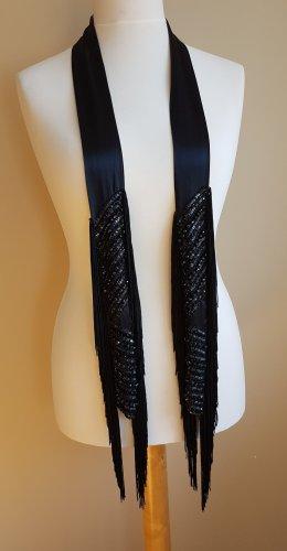 schmal Seide Schal mit XL Fransen und Glasperlen - NEU -  Fringe Tie/Kravatte