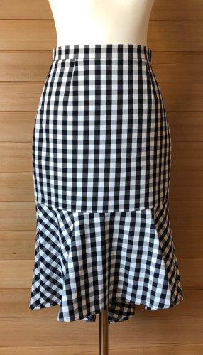 Uterqüe Spódnica z falbanami czarny-biały Bawełna