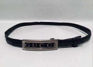 Gucci Cinturón de cuero negro-color plata Cuero