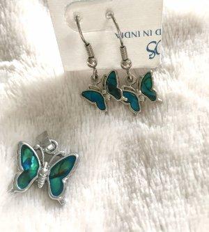 Schmetterling Anhänger Charm Türkis perlmuttfarben Ohrringe