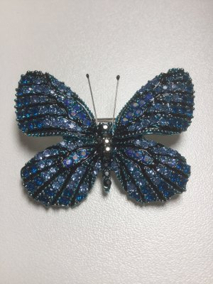 Brooch blue-silver-colored