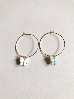 Ear Hoops turquoise-gold-colored
