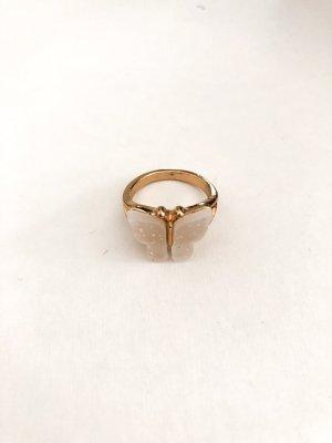 Złoty pierścionek złoto-kremowy