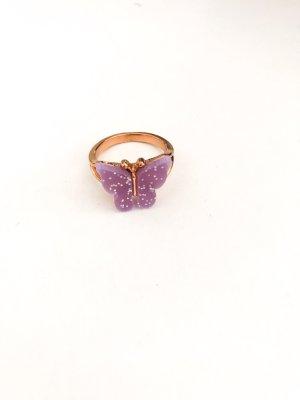 Złoty pierścionek złoto-jasny fiolet