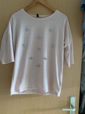 Sweter z krótkim rękawem stary róż