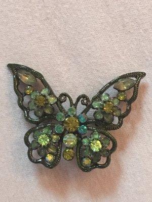Schmetterlingsbrosche mit Strasssteinen grün