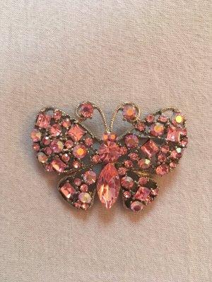Schmetterlingsbrosche mit Strasssteinen rosa