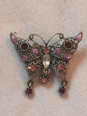 Schmetterlingsbrosche mit Strasssteinen rosa/violett