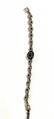 Vintage Braccialetto sottile nero-argento