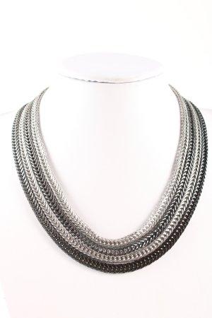 schmuck-art Cadena de eslabón color plata-negro elegante
