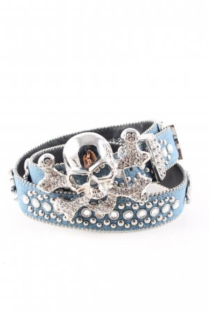 schmuck-art Fabric Belt blue-silver-colored extravagant style