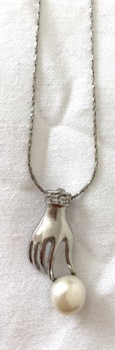 Vintage Naszyjnik srebrny-biały