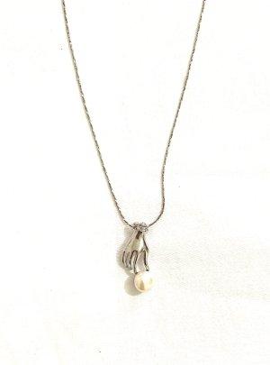 Vintage Srebrny łańcuch srebrny-biały