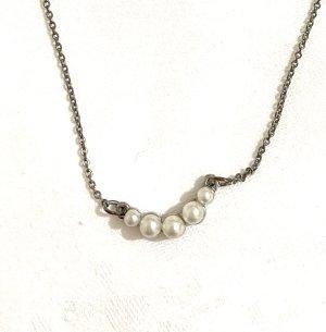 Vintage Naszyjnik z perłami srebrny-biały