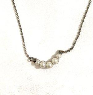 Vintage Srebrny łańcuch biały-srebrny