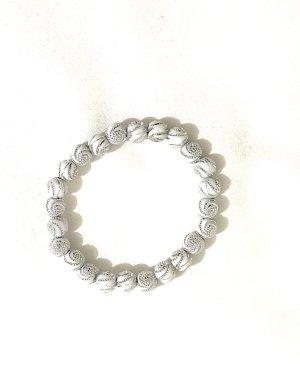 Vintage Sztywna bransoletka biały-srebrny