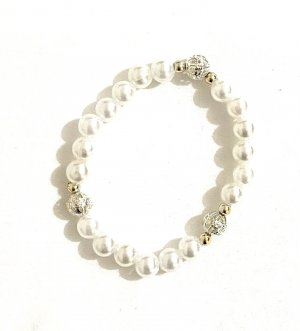 Vintage Brazalete de perlas blanco-color plata