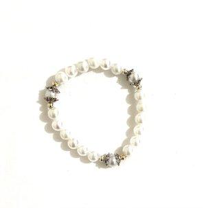 Vintage Collar de perlas blanco-color plata