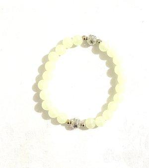 Vintage Brazalete de perlas beige claro-color plata