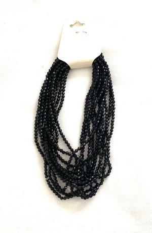Vintage Collier de perles noir-blanc