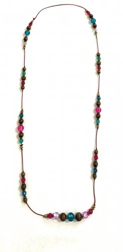 Vintage Collier de coquillages multicolore