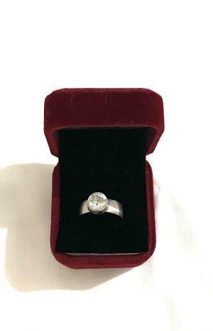 Vintage Srebrny pierścionek srebrny-biały