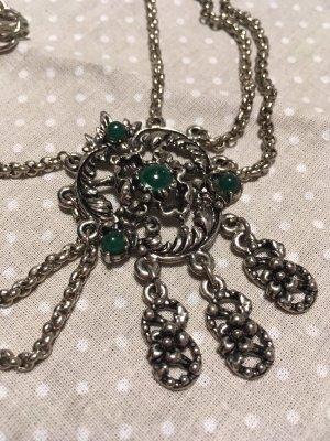 Collar estilo collier color plata-petróleo