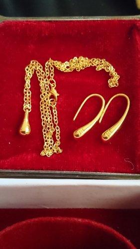 Schmuck Set Halskette und Ohrringe Goldfarbe