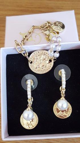 Orecchino di perle oro-bianco Metallo