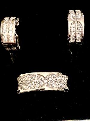 925er Silber Orecchino a clip bianco-argento