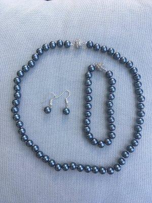 Naszyjnik z perłami szary niebieski
