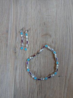 Schmuckset Armband Ohrringe türkis silber