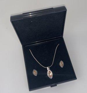 Schmuckset aus 925er Silber mit bernsteinfarbenen Zirkoniastein