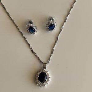 Schmuckset: Halskette + Ohrringe - Strass und blauer Stein NEU