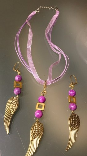 Statement ketting goud-roze